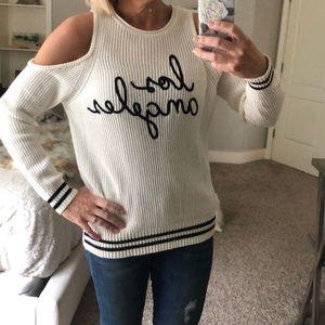 Ivory cold shoulder sweater